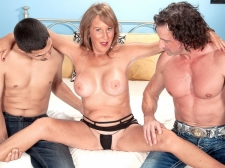 Trisha gets ass-fucked by two boyz and swallows
