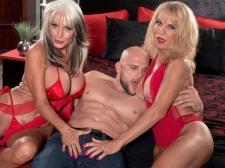 Cara, Sally and a big, corpulent cock